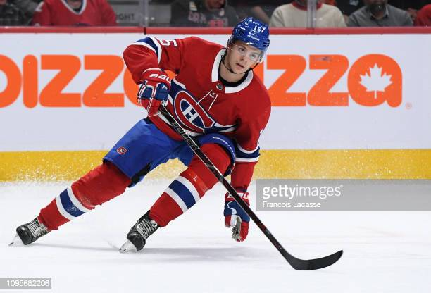 Jesperi Kotkaniemi of the Montreal Canadiens skates against the Colorado Avalanche in the NHL game at the Bell Centre on January 12 2019 in Montreal...