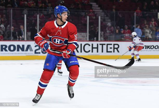 Jesperi Kotkaniemi of the Montreal Canadiens skates against the New York Rangers in the NHL game at the Bell Centre on December 1 2018 in Montreal...