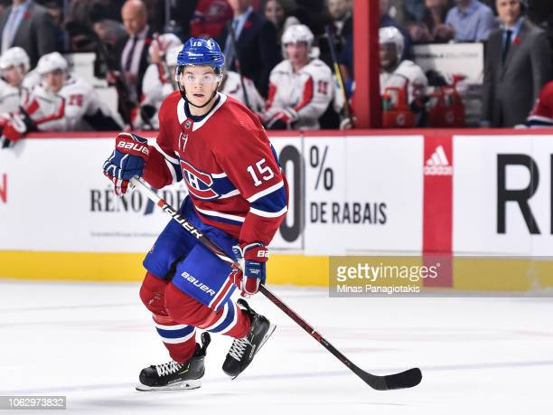 Jesperi Kotkaniemi of the Montreal Canadiens skates against the Washington Capitals during the NHL game at the Bell Centre on November 1 2018 in...