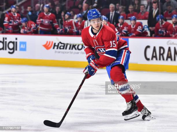 Jesperi Kotkaniemi of the Montreal Canadiens skates against the Edmonton Oilers during the NHL game at the Bell Centre on February 3 2019 in Montreal...