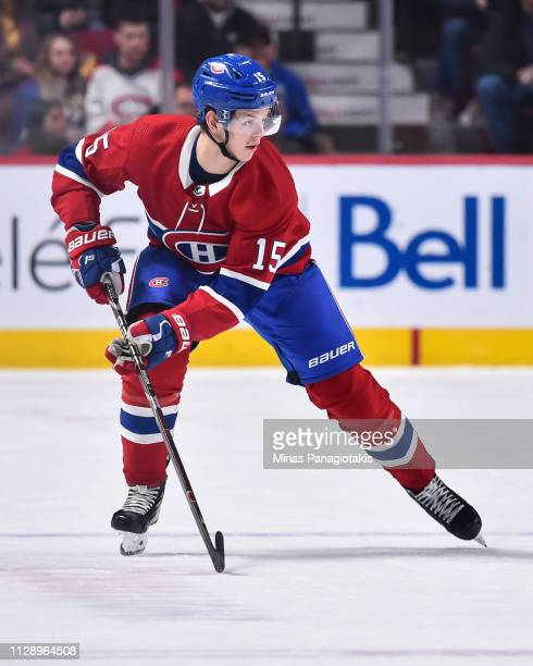 Jesperi Kotkaniemi of the Montreal Canadiens skates against the Toronto Maple Leafs during the NHL game at the Bell Centre on February 9 2019 in...