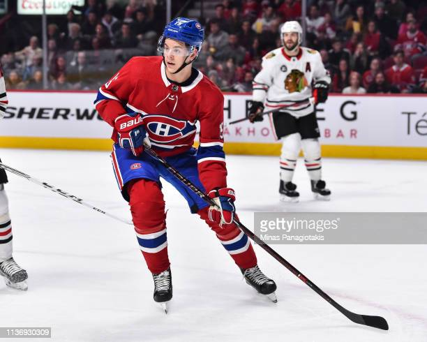Jesperi Kotkaniemi of the Montreal Canadiens skates against the Chicago Blackhawks during the NHL game at the Bell Centre on March 16 2019 in...