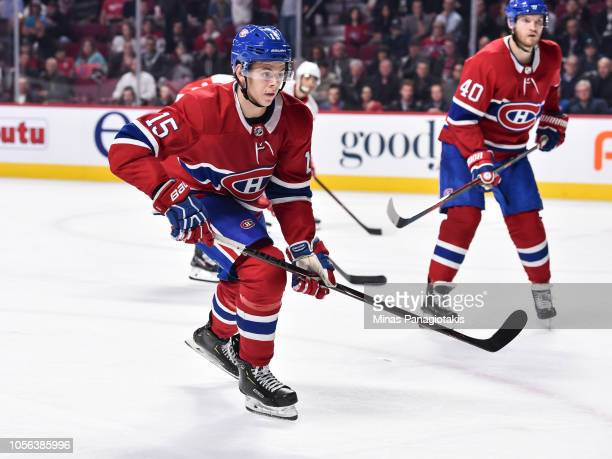 Jesperi Kotkaniemi of the Montreal Canadiens skates against the Detroit Red Wings during the NHL game at the Bell Centre on October 15 2018 in...