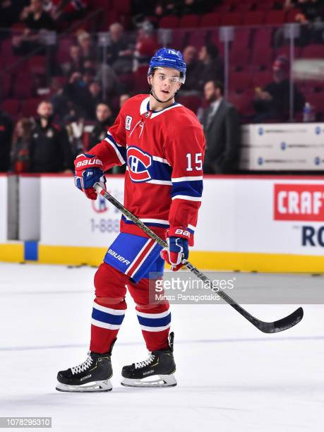 Jesperi Kotkaniemi of the Montreal Canadiens skates during the warmup against the Ottawa Senators prior to the NHL game at the Bell Centre on...
