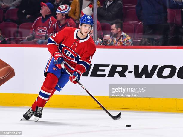 Jesperi Kotkaniemi of the Montreal Canadiens skates the puck against the Minnesota Wild during the warmup prior to the NHL game at the Bell Centre on...