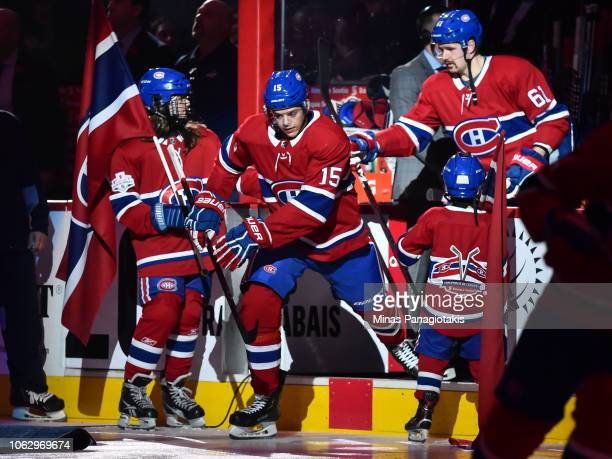 Jesperi Kotkaniemi of the Montreal Canadiens takes to the ice against the Washington Capitals during the NHL game at the Bell Centre on November 1...