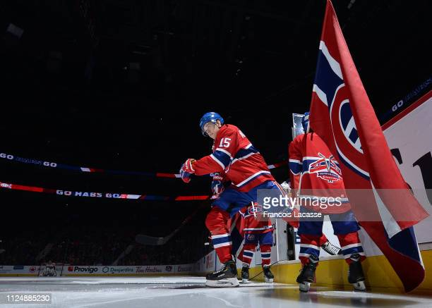 Jesperi Kotkaniemi of the Montreal Canadiens takes to the ice prior the NHL game against the Philadelphia Flyers at the Bell Centre on January 19...