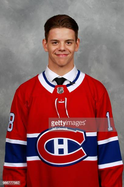 Jesperi Kotkaniemi poses for a portrait after being selected third overall by the Montreal Canadiens during the first round of the 2018 NHL Draft at...
