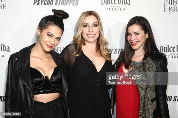 Jess Adams Autumn Federici and Rosie Okumura attend the red carpet screening of Psycho Stripper By The Ninth House at Garry Marshall Theatre on...