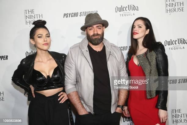 Jess Adams Mike Capozzi and Rosie Okumura attend thered carpet screening of Psycho Stripper By The Ninth House at Garry Marshall Theatre on January...