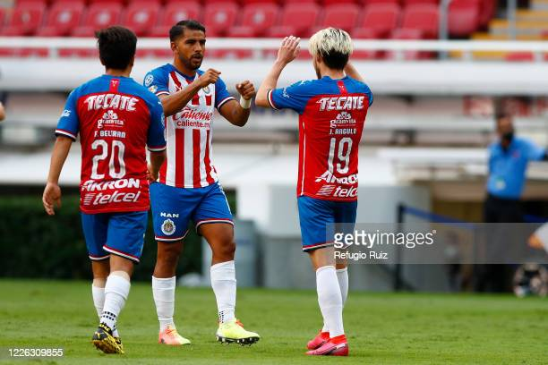 Jesús Angulo of Chivas celebrates with his teammates after scoring the first goal of his team during the match between Chivas and Mazataln FC as part...