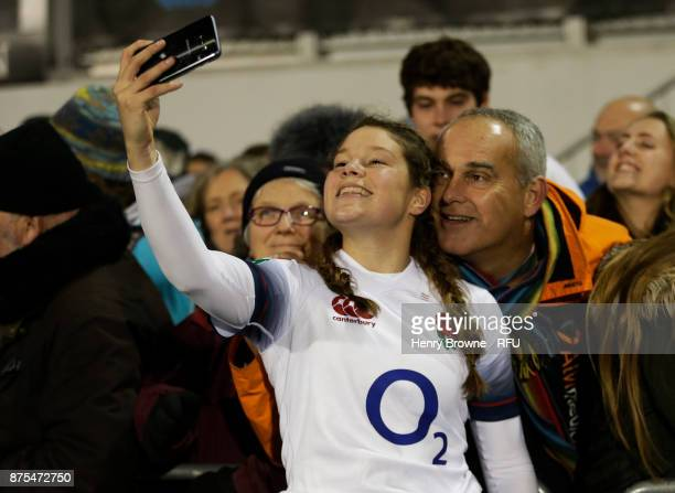 Jess Breach of England after the Old Mutual Wealth Series match between England Women and Canada Women at Allianz Park on November 17 2017 in Barnet...