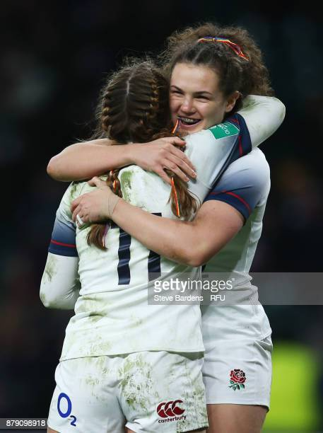 Jess Breach of England celebrates scoring her fourth try with a team mate during the Old Mutual Wealth Series match between England and Canada at...