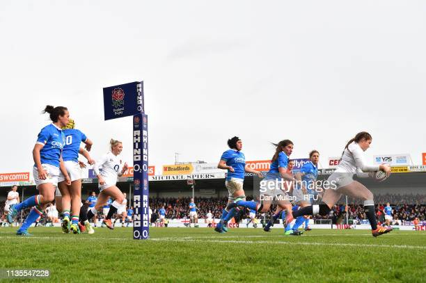 Jess Breach of England runs in to score a try during the Womens Six Nations match between England and Italy at Sandy Park on March 09 2019 in Exeter...