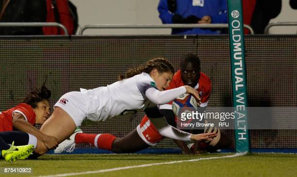 Jess Breach of England scores their first try during the Old Mutual Wealth Series match between England Women and Canada Women at Allianz Park on...
