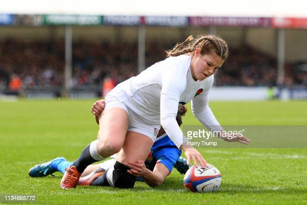 Jess Breach of England touches down to score their first try during the Womens Six Nations match between England and Italy at Sandy Park on March 09...