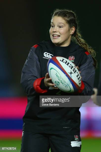 Jess Breach of England Women during the warm up prior to the Old Mutual Wealth Series match between England Women and Canada Women at Twickenham...