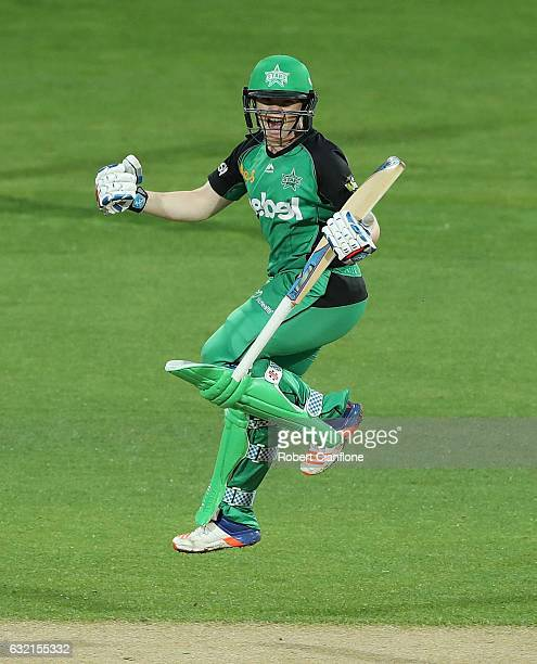 Jess Cameron of the Melbourne Stars celebrates after scoring the winning run during the Women's Big Bash League match between the Melbourne Stars and...