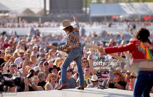 Jess Carson and Cameron Duddy of Midland perform onstage during 2018 Stagecoach California's Country Music Festival at the Empire Polo Field on April...