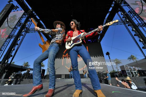 Jess Carson and Cameron Duddy of Midland performs onstage during 2018 Stagecoach California's Country Music Festival at the Empire Polo Field on...