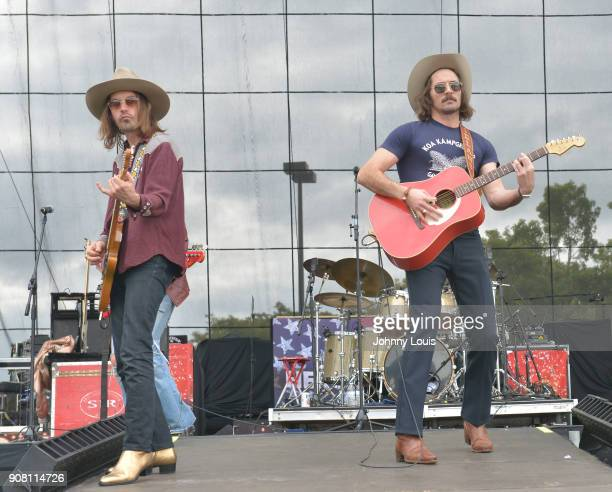 Jess Carson and Mark Wystrach of Midland perform onstage at the 33rd Annual Kiss 999 Chili Cookoff at CB Smith Park on January 20 2018 in Pembroke...
