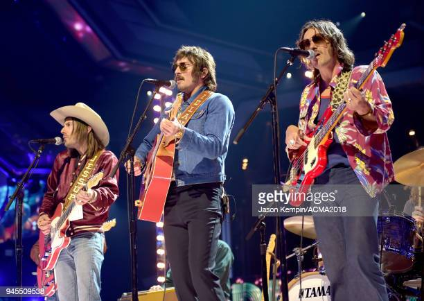 Jess Carson Mark Wystrach and Cameron Duddy of Midland perform onstage during rehearsals for the 53rd Academy of Country Music Awards at MGM Grand...