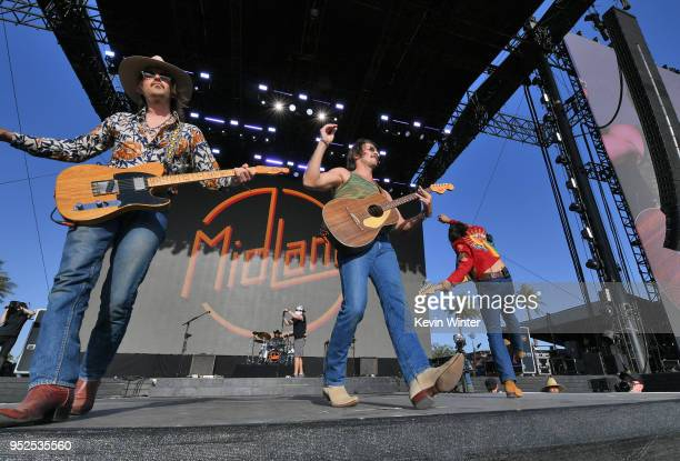 Jess Carson Mark Wystrach and Cameron Duddy of Midland performs onstage during 2018 Stagecoach California's Country Music Festival at the Empire Polo...