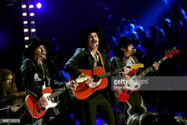 Jess Carson Mark Wystrach and Cameron Duddy of musical group Midland perform onstage during the 53rd Academy of Country Music Awards at MGM Grand...