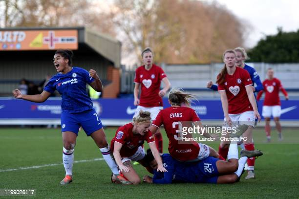 Jess Carter of Chelsea celebrates after scoring her team's third goal during the Barclays FA Women's Super League match between Chelsea and Bristol...