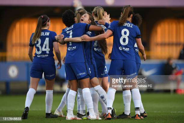 Jess Carter of Chelsea celebrates with teammate Hannah Blundell after scoring her team's second goal during the Vitality Women's FA Cup Fourth Round...