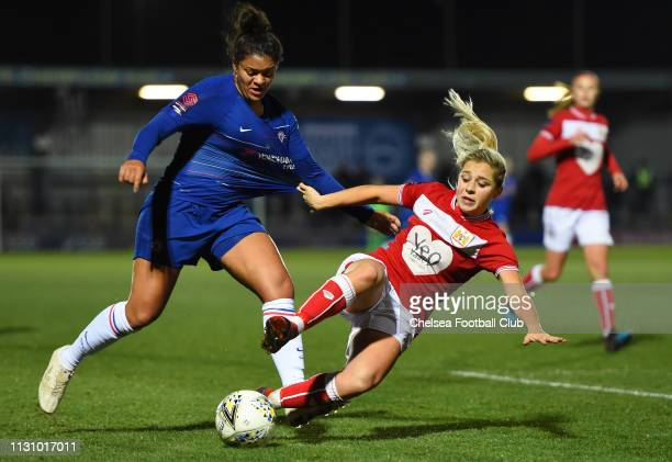 Jess Carter of Chelsea is challenged by during Poppy Pattinson of Bristol City the FA WSL match between Chelsea Women and Bristol City Women at...