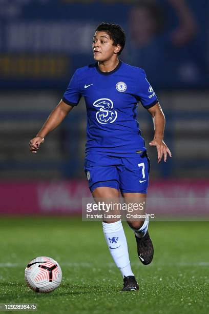 Jess Carter of Chelsea runs with the ball during the UEFA Women's Champions League round of 32 second leg match between FC Chelsea Women and SL...