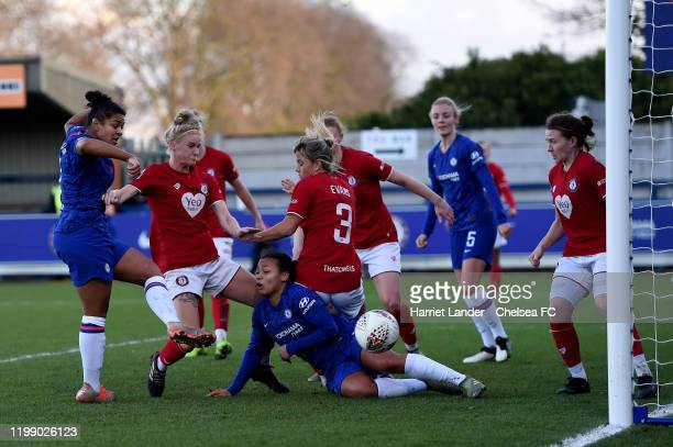 Jess Carter of Chelsea scores her team's third goal during the Barclays FA Women's Super League match between Chelsea and Bristol City at Kingsmeadow...