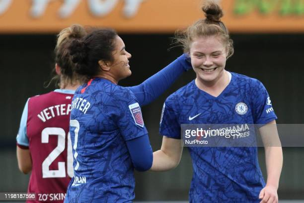 Jess Carter of Chelsea Women and Emily Murphy of Chelsea Women during the Barclays FA Women's Super League match between Chelsea and West Ham United...