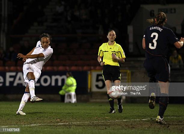 Jess Clarke of England scores the first goal during the England Women and USA Ladies match at Matchroom Stadium on April 2, 2011 in London, England.