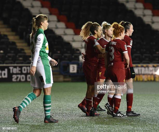 Jess Clarke of Liverpool Ladies celebrates after scoring the sixth goal during the FA Women's Super League match between Liverpool Ladies and Yeovil...