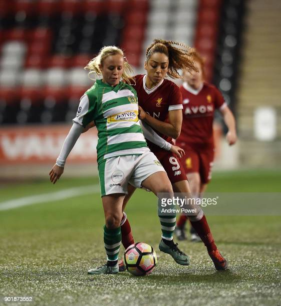 Jess Clarke of Liverpool Ladies competes with Nidia Lawrence of Yeovil Town Ladies during the FA Women's Super League match between Liverpool Ladies...
