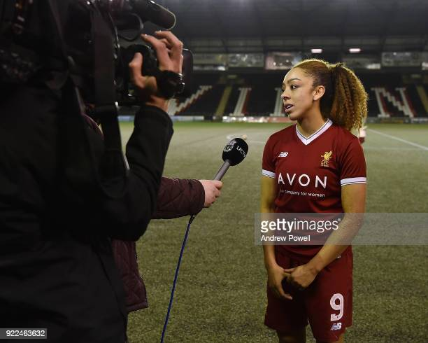 Jess Clarke of Liverpool Ladies getting interviewed at the end of the FA WSL match between Liverpool Ladies and Sunderland Ladies at Select Security...