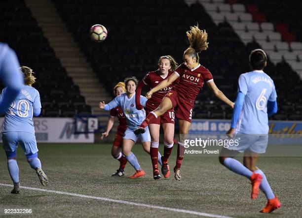 Jess Clarke of Liverpool Ladies scoring the second goal during the FA WSL match between Liverpool Ladies and Sunderland Ladies at Select Security...