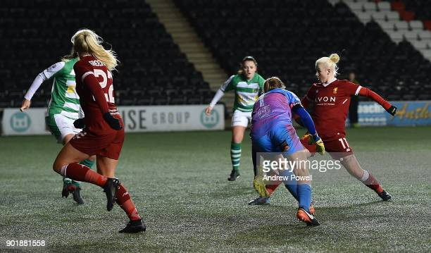 Jess Clarke of Liverpool Ladies scoring the seventh goal during the FA Women's Super League match between Liverpool Ladies and Yeovil Town Ladies at...