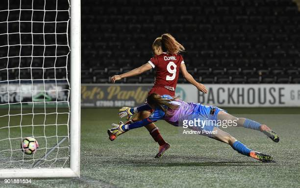 Jess Clarke of Liverpool Ladies scoring the sixth goal during the FA Women's Super League match between Liverpool Ladies and Yeovil Town Ladies at...