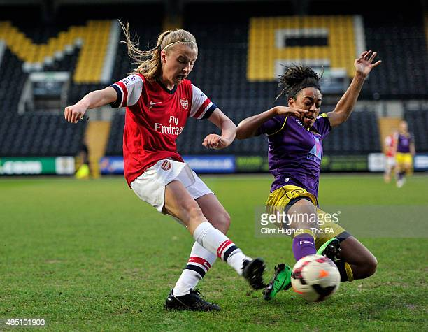 Jess Clarke of Notts County Ladies FC tackles Liah Williamson of Arsenal Ladies FC during the FA WSL 1 match between Notts County Ladies FC and...