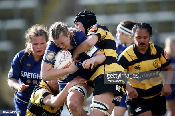 Jess Dermody of Otago is tackled during the round five Farah Palmer Cup match between Taranaki and Otago at Yarrow Stadium on September 29 2018 in...