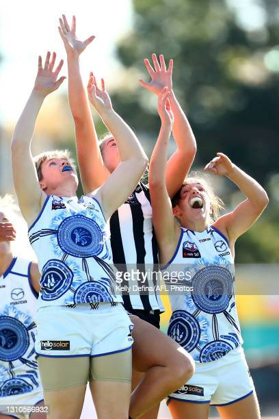 Jess Duffin of the Kangaroos competes for the ball during the AFLW Finals Series match between the Collingwood Magpies and the North Melbourne...