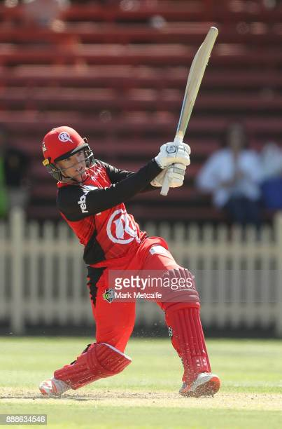 Jess Duffin of the Renegades bats during the Women's Big Bash League WBBL match between the Melbourne Renegades and the Sydney Thunder at North...
