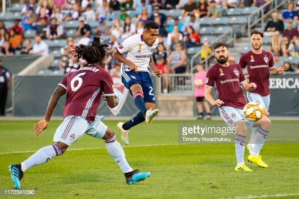 Jesús Ferreira of FC Dallas attempts a shot against the Colorado Rapids during the first half at Dick's Sporting Goods Park on September 29 2019 in...