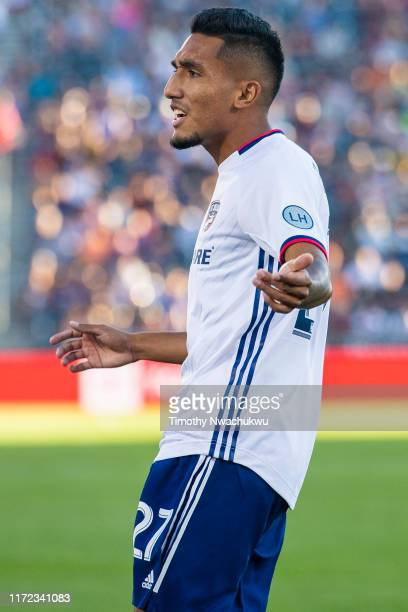 Jesús Ferreira of FC Dallas refutes a call during the first half against the Colorado Rapids at Dick's Sporting Goods Park on September 29 2019 in...