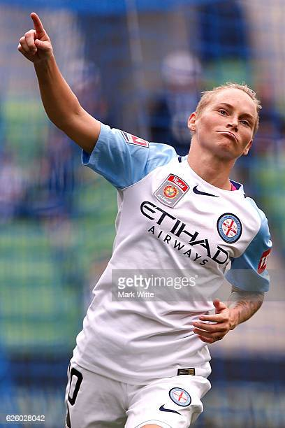 Jess Fishlock of Melbourne City celebrates a goal during the round four ALeague match between Melbourne City FC and Melbourne Victory at AAMI Park on...