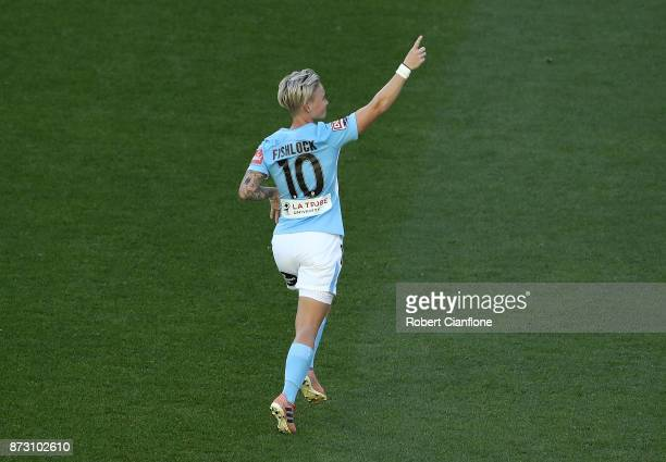 Jess Fishlock of Melbourne City celebrates after scoring a goal during the round three WLeague match between Melbourne City and the Newcastle Jets at...