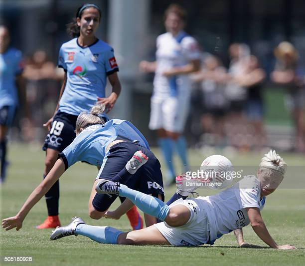 Jess Fishlock of Melbourne City challenges Alanna Kennedy of Sydney FC during the round 14 WLeague match between Melbourne City FC and Sydney FC at...